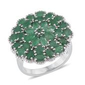 Kagem Zambian Emerald Platinum Over Sterling Silver Ring (Size 8.0) TGW 5.44 cts.