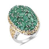 Kagem Zambian Emerald 14K YG and Platinum Over Sterling Silver Ring (Size 6.0) TGW 5.995 cts.