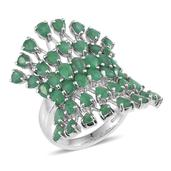Kagem Zambian Emerald Platinum Over Sterling Silver Openwork Elongated Ring (Size 7.0) TGW 7.000 cts.