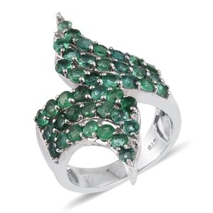 Kagem Zambian Emerald Platinum Over Sterling Silver Elongated Bypass Ring (Size 7.0) TGW 3.380 cts.