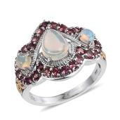 Ethiopian Welo Opal, Pink Tourmaline 14K YG and Platinum Over Sterling Silver Ring (Size 7.0) TGW 2.930 cts.