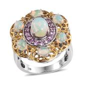 Ethiopian Welo Opal, Madagascar Pink Sapphire 14K YG and Platinum Over Sterling Silver Ring (Size 8.0) TGW 2.910 cts.