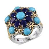 Royal Jaipur Arizona Sleeping Beauty Turquoise, Lapis Lazuli, Ruby 14K YG and Platinum Over Sterling Silver Openwork Ring (Size 6.0) TGW 5.65 cts.