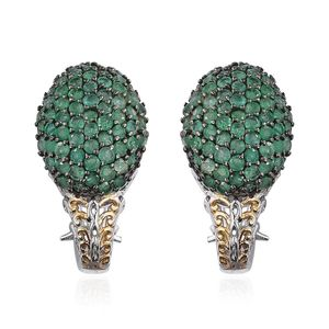 Royal Jaipur Kagem Zambian Emerald, Ruby 14K YG and Platinum Over Sterling Silver J-Hoop Omega Clip Earrings TGW 4.58 Cts.
