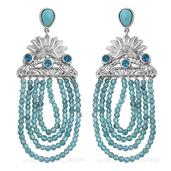 Royal Jaipur Sonoran Blue Turquoise, Malgache Neon Apatite, Ruby Platinum Over Sterling Silver Earrings TGW 2.96 Cts.