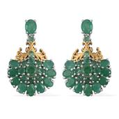 Kagem Zambian Emerald 14K YG and Platinum Over Sterling Silver Earrings TGW 5.96 Cts.