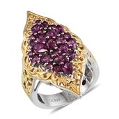 Royal Jaipur Orissa Rhodolite Garnet, Ruby 14K YG and Platinum Over Sterling Silver Openwork Elongated Ring (Size 6.0) TGW 3.640 cts.