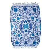 White and Blue Floral Print 100% Rayon Sarong (71x47 in)