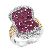 Niassa Ruby, White Topaz 14K YG and Platinum Over Sterling Silver Openwork Elongated Cluster Ring (Size 8.0) TGW 8.000 cts.