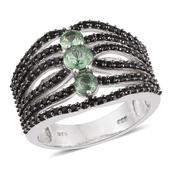 Green Kyanite, Thai Black Spinel Platinum Over Sterling Silver Ring (Size 8.0) TGW 3.630 cts.