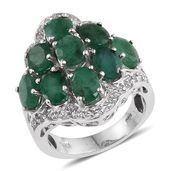 Kagem Zambian Emerald, White Topaz Platinum Over Sterling Silver Ring (Size 6.0) TGW 7.000 cts.