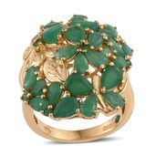 Kagem Zambian Emerald 14K YG Over Sterling Silver Ring (Size 7.0) TGW 5.900 cts.