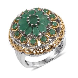 Kagem Zambian Emerald 14K YG and Platinum Over Sterling Silver Ring (Size 7.0) TGW 3.085 cts.