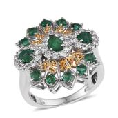 Kagem Zambian Emerald, White Topaz 14K YG and Platinum Over Sterling Silver Statement Ring (Size 5.0) TGW 2.960 cts.