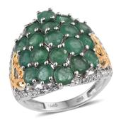 Kagem Zambian Emerald, White Topaz 14K YG and Platinum Over Sterling Silver Ring (Size 7.0) TGW 5.250 cts.