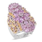 Madagascar Pink Sapphire 14K YG Over and Sterling Silver Elongated Ring (Size 7.0) TGW 6.150 cts.