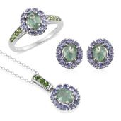 Green Kyanite, Tanzanite, Russian Diopside Platinum Over Sterling Silver Ring (Size 6), Stud Earrings and Pendant With Chain (20 in) TGW 6.500 cts.
