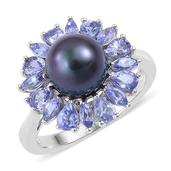 Pearl Expressions Tahitian Pearl, Tanzanite Sterling Silver Ring (Size 10.0) TGW 0.750 cts.