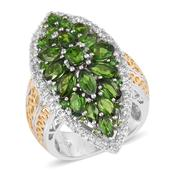Russian Diopside, White Topaz 14K YG and Platinum Over Sterling Silver Elongated Ring (Size 5.0) TGW 6.16 cts.