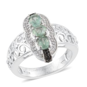 Green Kyanite, White Topaz, Thai Black Spinel Platinum Over Sterling Silver Openwork Ring (Size 5.0) TGW 1.62 cts.