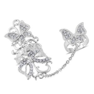 Austrian Crystal Silvertone Chain Linking Double Finger Openwork Butterfly Ring (Adjustable)
