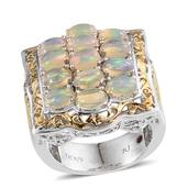 Royal Jaipur Ethiopian Welo Opal, Ruby 14K YG and Platinum Over Sterling Silver Ring (Size 7.0) TGW 3.030 cts.
