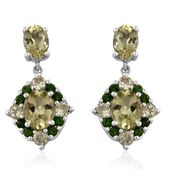 Canary Apatite, Russian Diopside Platinum Over Sterling Silver Dangle Earrings TGW 6.48 cts.