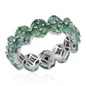 Kagem Zambian Emerald Platinum Over Sterling Silver Ring (Size 6.0) TGW 3.260 cts.