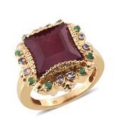 SUGAR by Gay Isber Niassa Ruby, Multi Gemstone 14K YG Over Sterling Silver Ring (Size 7.0) TGW 11.020 cts.