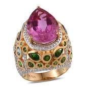 African Lilac Quartz, Multi Gemstone 14K YG Over Sterling Silver Ring (Size 6.0) TGW 17.51 cts.