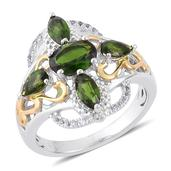 Russian Diopside, White Topaz 14K YG and Platinum Over Sterling Silver Ring (Size 7.0) TGW 2.180 cts.