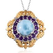 Larimar, Amethyst, White Topaz 14K YG and Platinum Over Sterling Silver Pendant With Chain (20 in) TGW 4.800 cts.