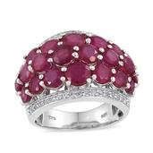 Niassa Ruby, White Topaz Platinum Over Sterling Silver Cluster Ring (Size 5.0) TGW 10.460 cts.