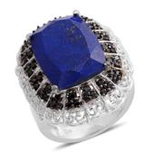 Lapis Lazuli, Thai Black Spinel Platinum Over Sterling Silver Ring (Size 8.0) TGW 14.86 cts.
