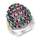 Multi Gemstone 14K YG and Platinum Over Sterling Silver Ring (Size 5.0) TGW 8.66 cts.