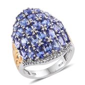Mega Clearance Tanzanite, White Topaz 14K YG and Platinum Over Sterling Silver Cluster Ring (Size 8.0) TGW 7.710 cts.