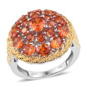 KARIS Collection - Simulated Orange Diamond ION Plated 18K YG and Platinum Bond Brass Ring (Size 6.0) TGW 9.250 cts.