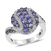 Tanzanite, White Topaz Platinum Over Sterling Silver Ring (Size 8.0) TGW 2.66 cts.