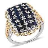 Kanchanaburi Blue Sapphire 14K YG and Platinum Over Sterling Silver Openwork Cluster Ring (Size 6.0) TGW 3.920 cts.