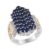 Kanchanaburi Blue Sapphire, White Zircon 14K YG and Platinum Over Sterling Silver Elongated Cluster Ring (Size 8.0) TGW 5.550 cts.
