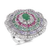 Kagem Zambian Emerald, Multi Gemstone Platinum Over Sterling Silver Statement Ring (Size 6.0) TGW 5.400 cts.