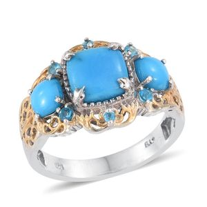 Arizona Sleeping Beauty Turquoise, Malgache Neon Apatite 14K YG and Platinum Over Sterling Silver Ring (Size 7.0) TGW 3.090 cts.