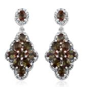 Jenipapo Andalusite, White Topaz Platinum Over Sterling Silver Earrings TGW 4.45 Cts.
