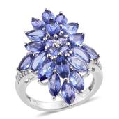 Tanzanite, White Zircon Platinum Over Sterling Silver Floral Cluster Ring (Size 8.0) TGW 7.690 cts.