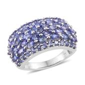 Tanzanite 14K YG and Platinum Over Sterling Silver Cluster Ring (Size 7.0) TGW 4.80 cts.
