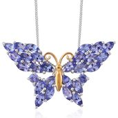 Creature Couture - Premium AAA Tanzanite 14K YG and Platinum Over Sterling Silver Butterfly Pendant With Chain (20 in) TGW 4.20 cts.