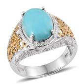 Arizona Sleeping Beauty Turquoise 14K YG and Platinum Over Sterling Silver Ring (Size 8.0) TGW 4.450 cts.