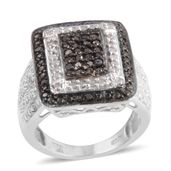 Black Diamond (IR), Diamond Platinum Over Sterling Silver Ring (Size 5.5) TDiaWt 0.50 cts, TGW 0.50 cts.