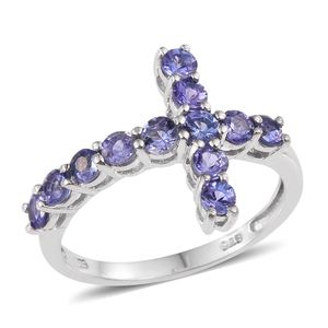 Tanzanite Platinum Over Sterling Silver Cross Ring (Size 7.0) TGW 1.680 cts.