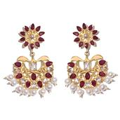 Niassa Ruby, Freshwater Pearl, Ruby, White Topaz 14K YG Over Sterling Silver Earrings Total Gem Stone Weight 23.180 Carat